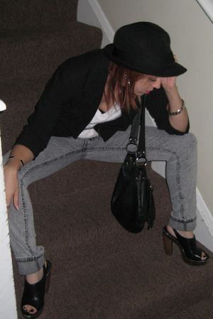 forever 21 hat - Target blazer - Hanes t-shirt - jeans - Aldo shoes - purse