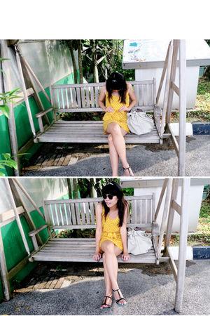 yellow H&M dress - black vinnci shoes - black Ray Ban accessories