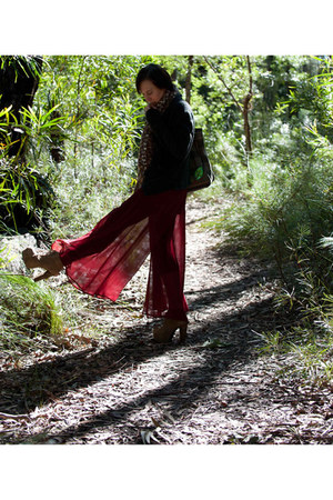 ruby red Dotti pants - dark brown vintage bag - black unknown brand cardigan