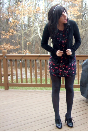 black Goodwill cardigan - blue Forever 21 dress - gray tights - black vintage sh