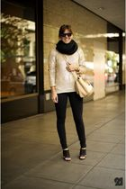 black LD Tuttle shoes - black American Apparel pants - beige Miu Miu purse - vin