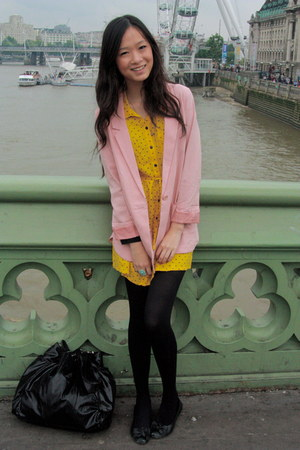 yellow H&M dress - light pink H&M blazer - black new look tights