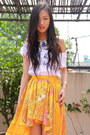 Hot-pink-top-shop-heels-light-orange-river-island-skirt