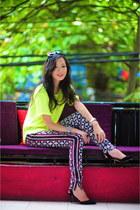 yellow H&M top - balenciaga pants - black Zara heels
