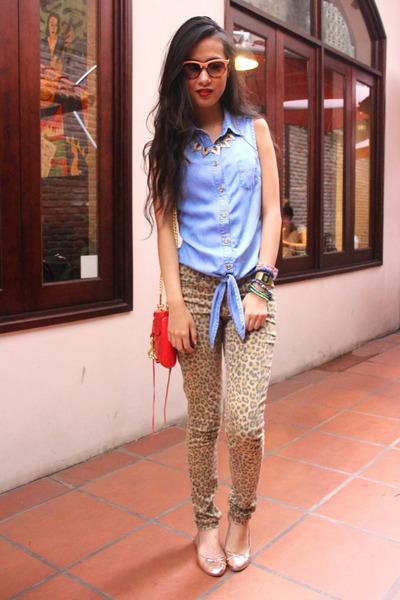 brown H&M pants - red Rebecca Minkoff purse - sky blue warehouse top