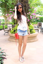 light blue warehouse shorts - red Rebecca Minkoff purse - white warehouse top