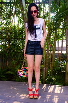 red lyn around clogs - Ipa Nima purse - black H&M shorts - white printed t-shirt