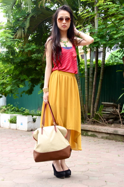 mustard Forever 21 skirt - beige Accessorize bag - black Aldo wedges