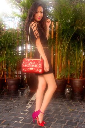 red Chanel purse - black Forever 21 dress - red Zara heels