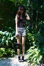 Black-louis-vuitton-purse-white-market-find-shorts