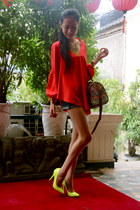 yellow Aldo heels - red boutique shirt - Accessorize bag