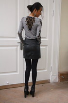 heather gray Local Boutique top - black Nine West boots - dark gray H&M skirt