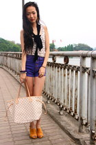 cream NafNaf top - off white Louis Vuitton bag - violet boutique shorts