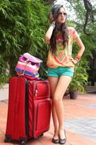 Accessorize bag - teal boutique shorts - light orange Zara t-shirt