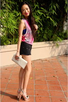 bubble gum Top Shop top - white YSL purse - black cotton on shorts