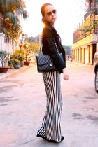 black calvin klein blazer - black Chanel purse - white Zara pants