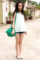aquamarine Accessorize bag - blue Forever 21 shorts - aquamarine Zara top