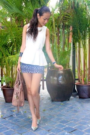 beige Zara heels - tan Tods bag - gray Forever 21 skirt - off white Zara top