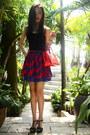 Blue-lyn-around-skirt-red-louis-vuitton-purse-black-charles-keith-heels