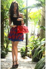 Red-louis-vuitton-purse-blue-lyn-around-skirt-black-charles-keith-heels