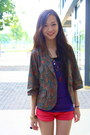 Army-green-local-boutique-blazer-coral-local-boutique-shorts