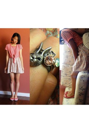 silver bunny ring ring - pink Valleygirl skirt - coral chicabooti top