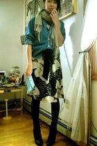 black Urban Outfitters dress - blue coach purse - blue Ralph Lauren shirt - yell