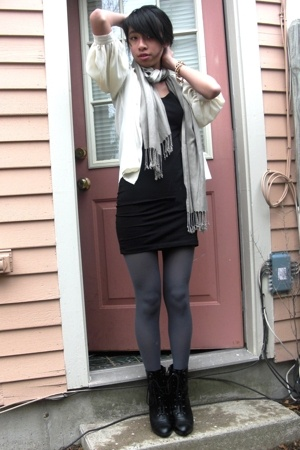 vintage blouse - H&amp;M dress - H&amp;M scarf - Via Spiga tights - payless boots