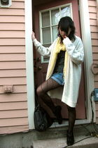 yellow Icing scarf - white vintage cardigan - black American Apparel tights - bl