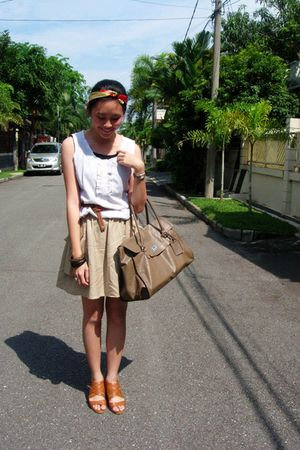 beige Gaudi blouse - beige H&M skirt - brown thrifted belt - brown H&M bag - Gau