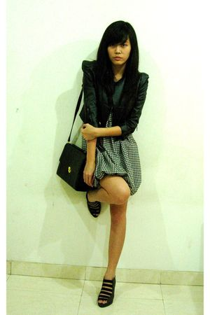 black jacket - black - white dress - gray