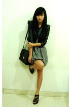 black jacket - black - white dress - gray