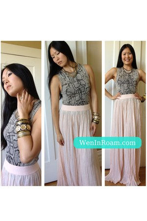 pink maxi skirt 5 48 skirt - H&M necklace - snakeskin top Express top