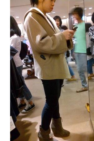 tan ankle boots Zara boots - camel wool Zara coat