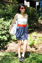 blue bardot skirt - black cagey heels RMK shoes - blue headband self-made hat