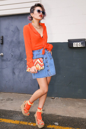 carrot orange orange Topshop blouse