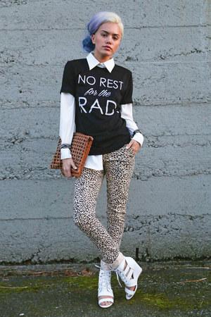 black Top Knot Goods shirt - white wedge sandals AmiClubWear heels