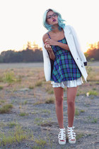 silver Oia Jules ring - deep purple plaid dress Radpopsicles dress