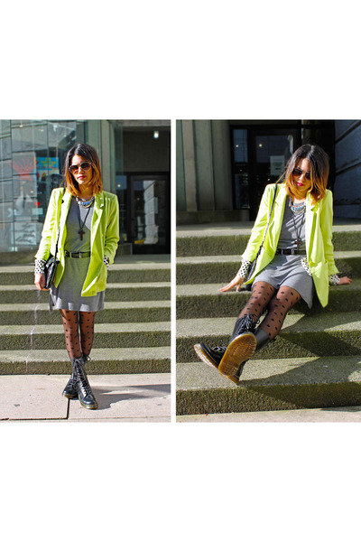 black doc martens boots - heather gray H&M dress - chartreuse H&M blazer