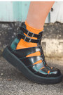 Burnt-orange-full-rim-vera-wang-sunglasses-black-creeper-tuk-sandals