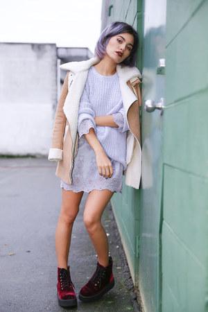 maroon velvet creeper TUK Shoes boots - tan faux suede OASAP coat