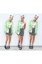 lime green Xander Vintage shirt - silver Forever 21 shirt - black H&M skirt