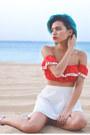 Red-crop-top-tara-starlet-shirt-white-perforated-bb-dakota-skirt