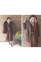 maroon Xander Vintage dress - black Xander Vintage coat - black H&M hat