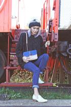 black Xander Vintage sweater - off white Nine West boots - black H&M hat