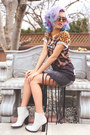Gold-wholesale-celeb-shades-sunglasses-gray-strip-cut-skirt-elsie-fred-skirt