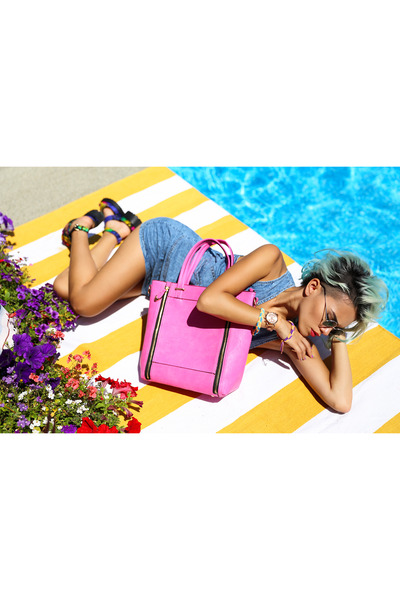 hot pink tayla tote la moda purse - sky blue denim dress Black Five dress
