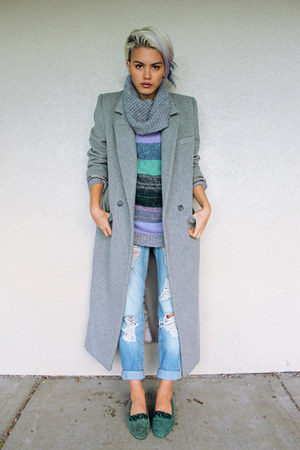 heather gray long coat Xander Vintage coat - heather gray H&M sweater