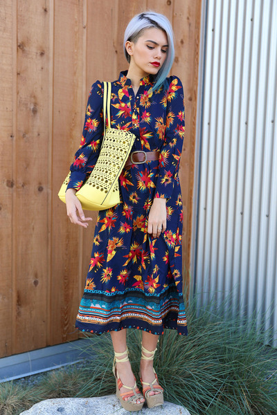 yellow laser-cut tote Streetlevel Bags bag - navy Mart of China dress