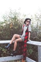 ruby red check dress Xander Vintage dress - black houndstooth Forever 21 skirt
